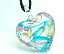 Elegant Hot Heart Lampwork Lovely glass art beaded Pendant necklace p004