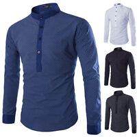 Mens Kurta Style Shirts  Crew Neck  Mandarin/Father Collar Shirts 4 Color 4 Size