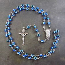 Bright blue eye resin rosary beads 51cm length Christian religious gift necklace