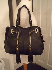 DUNE BEAUTIFUL GENUINE LEATHER TOTE BAG PALE GOLD CHAIN DETAIL IMMACULATE CON