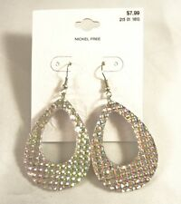 One Dozen New Wholesale Teardop Earrings with Iridescent Patterns NWT #E1232-12