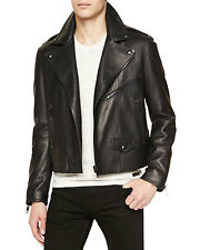 New! $1999 Burberry Brit Grain Leather Moto Jacket Mens Lined Wadded size XL