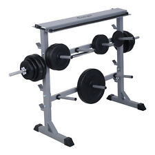 "New 2 Tier 40"" Barbell Dumbbell Rack Weights Storage Stand Home Gym Bench Base"