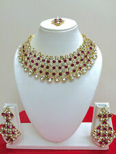 Indian Bollywood Ethnic Gold Necklace Earrings Fashion Party Wear Jewellery Set
