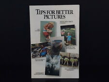 """TIPS FOR BETTER PICTURES""  KODAK Pamphlet 1998 Small Photo booklet guide manual"