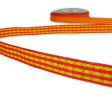 "5 Yds Orange Yellow Gingham Ribbon 3/8""W"