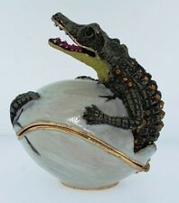 ALLIGATORS HATCHING FROM EGG ~ BEJEWELED ENAMEL TRINKET BOX  #3445