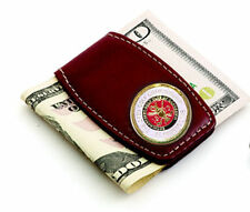 St Andrews Leather Money Clip - Brown Leather & White  - Beautiful Gift