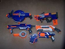 NERF ELITE HAIL FIRE, RAMPAGE, CROSSBOLT, ROUGH CUT, STRONGARM LOT WITH DARTS