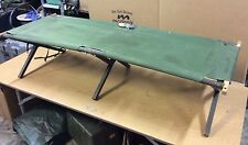 GENUINE VINTAGE USGI MILITARY WOODEN GREEN NYLON FOLDING COT RARE