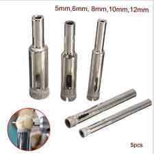 5x Diamant Hohl Bohrkrone Glasschneider Kern Bohrer Lochsäge Fliesen 5mm -12mm