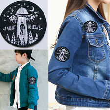 Embroidery UFO Alien Flying Saucer Badge Sew Iron On Patch Bag Hat DIY Applique
