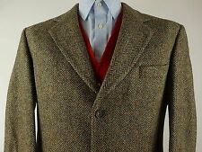Vtg Mens Harris Tweed Herringbone Country Hacking Jacket Blazer Chest Size 42""