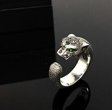 Sandman Edition Panther 14K White Gold Ring With Black Diamond by Sacred Angels