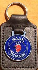 Saab Scania Key Ring - badge mounted on a leather fob