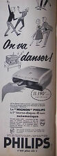 PUBLICITÉ 1958 TOURNE DISQUES PHILIPS LE MIGNON ON VA DANSER - ADVERTISING