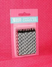 Zebra,Black/White Stripe Birthday Candles,Cake Decoration,24ct.Wax.Bakery Crafts