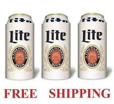 MILLER LITE THROWBACK 3 BEER CAN COOLERS KOOZIE COOLIE 16oz HUGGIE COOZIE NEW