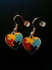 Autism Awareness Puzzle Heart Charm Dangle Earrings (New-on earring card)