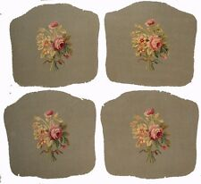 A Set of Four Antique Armchair Tapestry Covers w/ Flowers - Free USA Shipping