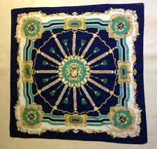 PREOWNED VINTAGE SCARF MULTI COLOR ROYAL CREST PATTERN CUTE AND PREPPY