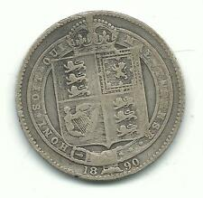 Very Nice Better Date 1890 Great Britain 1 One Shilling Silver Coin-Feb328