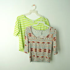 Lot of two crop tops boxy t-shirts knit tops S M Americaln Rag Cie OBOE Aztec