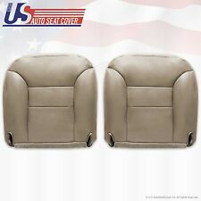 1995 to 1999 Chevy Suburban Driver & Passenger Leather Bottom Seat Covers Tan