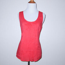 Fei Anthropologie Coral Pink Brewed Bean Ruffle Sleeveless Cotton Tank Size 10