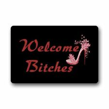 Welcome Bitches Doormat Funny rubber Floor Mat  Non Slip Indoor Outdoor Carpet