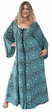 PLUS SIZE 3X 4X 5X BOHO BOHEMIAN HIPPY LONG SLEEVE TURQUOISE TIE FRONT DRESS
