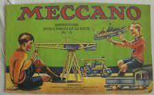 MECCANO catalogue d'instructions pour l'emploi de la boite N°1A