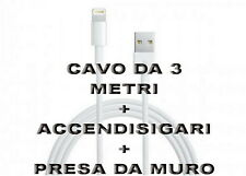 Kit Carica Batteria Auto Usb Per iPhone 6S 6 5S Plus iPod iPad Cavo 3M LightNing
