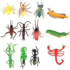 12 Plastic Insects Bug Animals Figures Scorpion Locust Cricket Ant Kids Toy