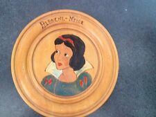 Vintage French Snow White & the Seven Dwarfs 9.5' Wood Plaque- Snow White