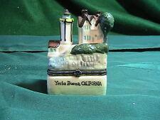 """Lighthouse Hinged Trinket Box Ceramic Nautical 2.5"""" Figurine Calif Lighthouse"""