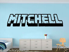 New Hot Minecraft inspired name 3d looking Wall Vinyl Decal decor For Kids Room