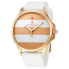 Juicy Couture Gold and White Stripe Dial Ladies Watch 1901394