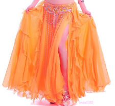 NEW Belly Dance Costume 2 layers with Slit Skirt&Dress 12 colors