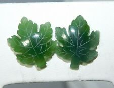 Cute Vintage Canadian Maple Leaf Carved Green Jade Stud Earrings 1d 81