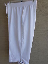 New Just My Size Cotton Blend French Terry Jersey Kinit Pull On  Capris 2X White