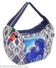 Laurel Burch Indigo Mares Horses Large Hobo Scoop Tote Bag Soft Woven Cotton New