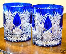 AJKA FABERGE CZAR PATTERN DOF WHISKEY ROCKS GLASSES, COBALT BLUE CASED CRYSTAL