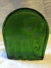 Vintage Emerald Green Blenko Art Glass Elephant Bookend