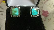 ANTIQUE NAVAJO GEM GRADE ROYSTON TURQUOISE STERLING SILVER EARRINGS