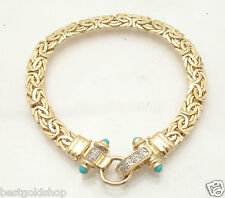 "7.5"" Diamond Accent Byzantine Bracelet Turquoise Gemstone REAL 14K Yellow Gold"