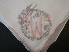 VINTAGE LINEN HANDKERCHIEF BRIDAL WEDDING PINK GRAY MONOGRAM W MADEIRA