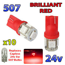 10 x RED 24v Capless Marker Light 505 501 W3W 5 SMD T10 Wedge Bulbs HGV Truck