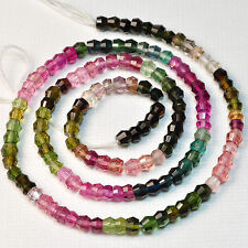 "4MM Pink Blue Green Tourmaline Faceted Bicone Beads 15.3"" Strand"