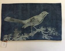 "Pottery Barn BATIK BLUE BIRD Printed Lumbar Pillow Cover New 16x26"" NWT"